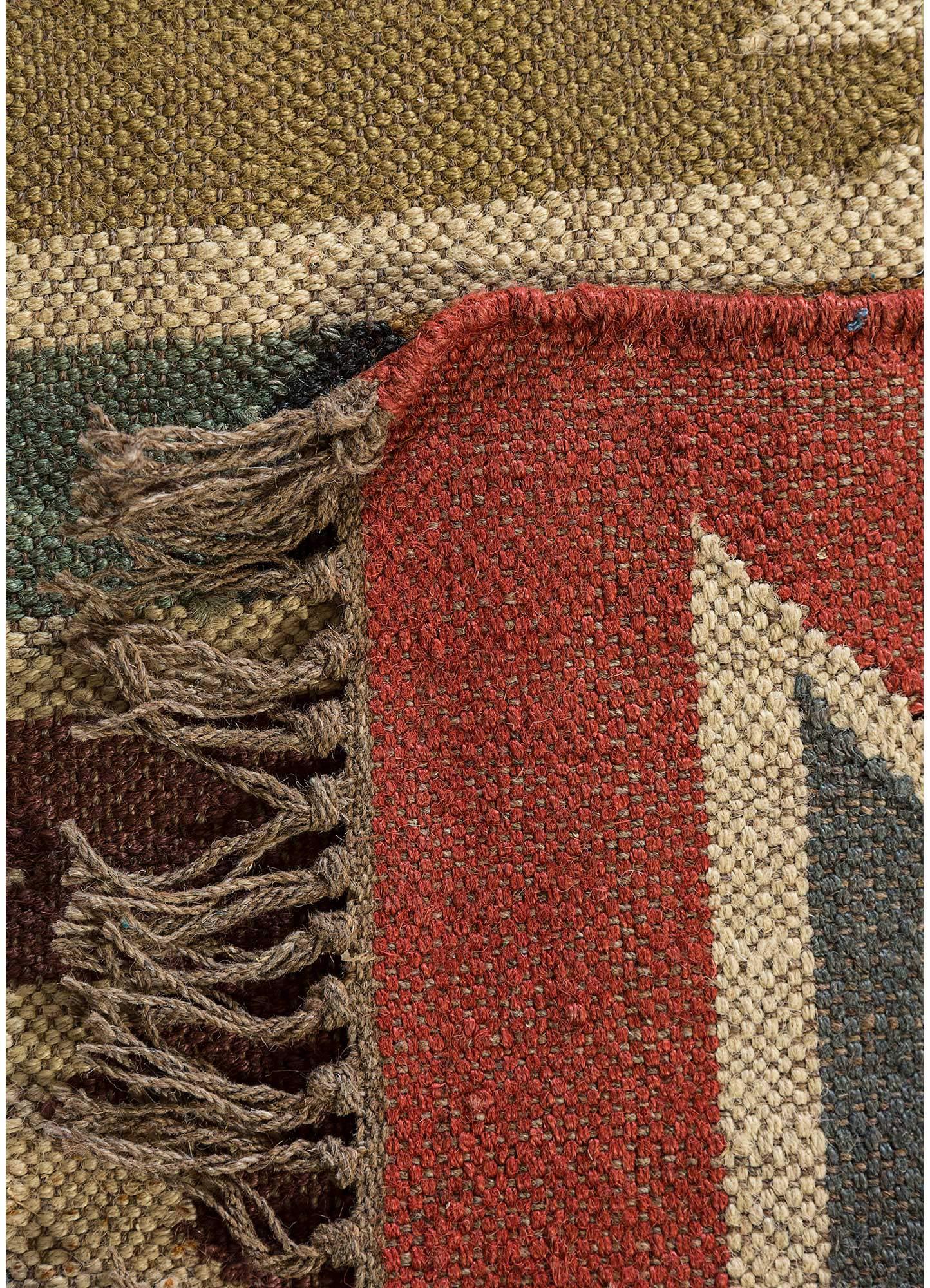 bedouin red and orange jute and hemp jute rugs Rug - Perspective