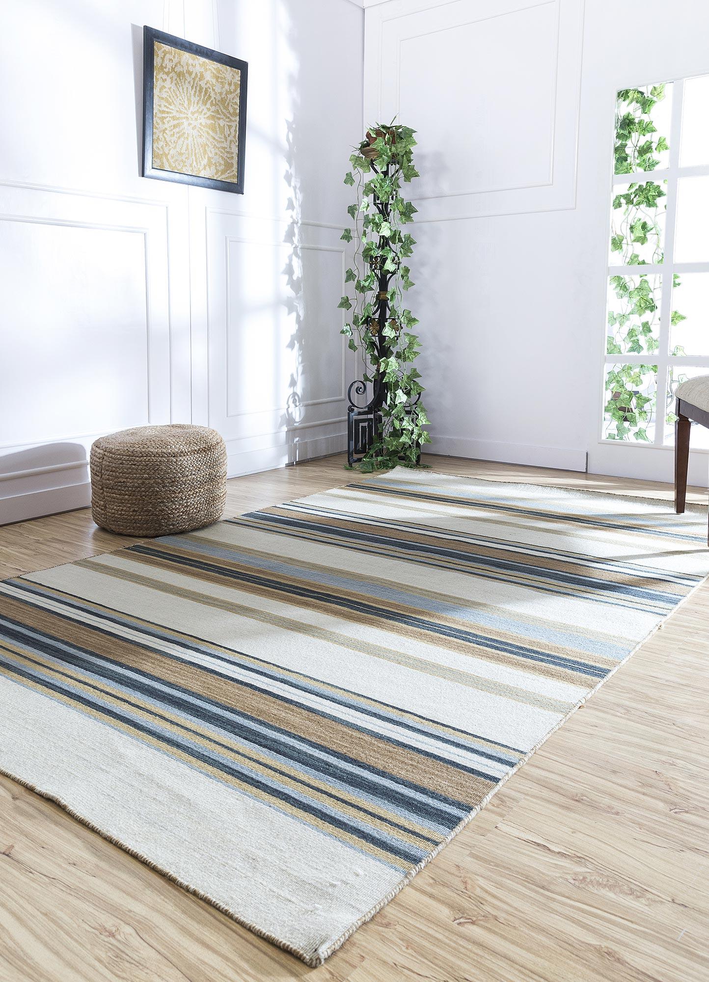aqua gold wool flat weaves Rug - RoomScene