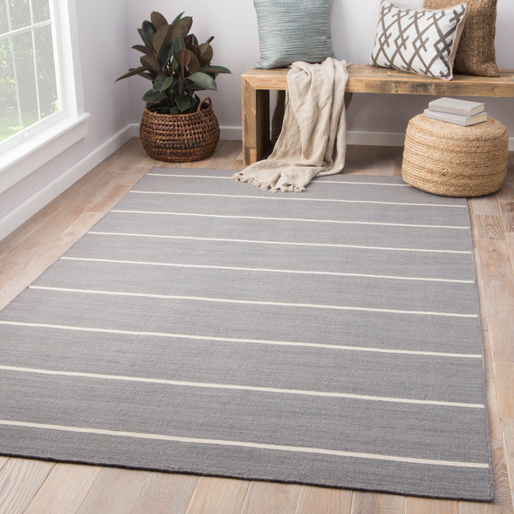 aqua grey and black wool flat weaves Rug - RoomScene