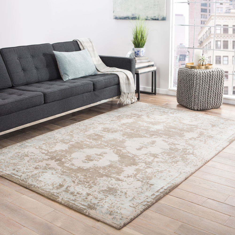 kibrast grey and black wool and viscose hand knotted Rug - RoomScene