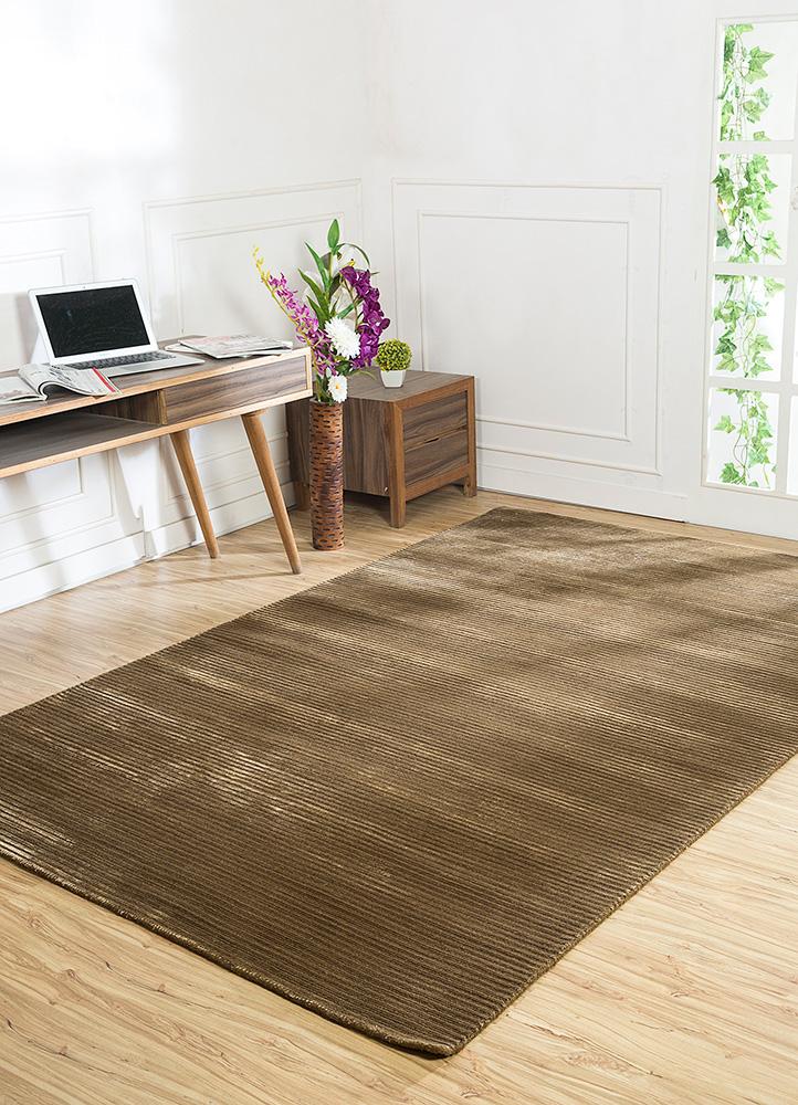 basis gold wool and viscose hand loom Rug - RoomScene