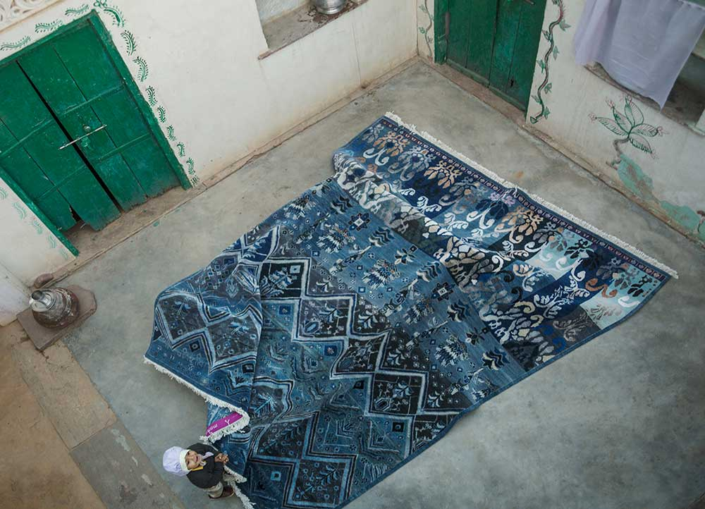 artisan originals blue wool and bamboo silk hand knotted Rug - RoomScene