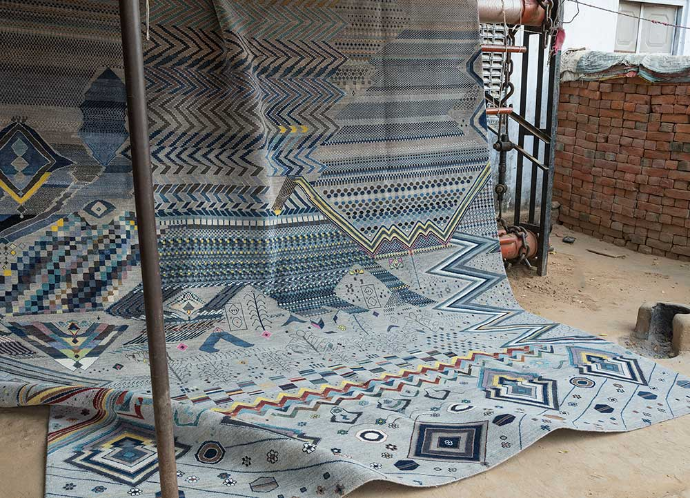 artisan originals grey and black wool and bamboo silk hand knotted Rug - RoomScene
