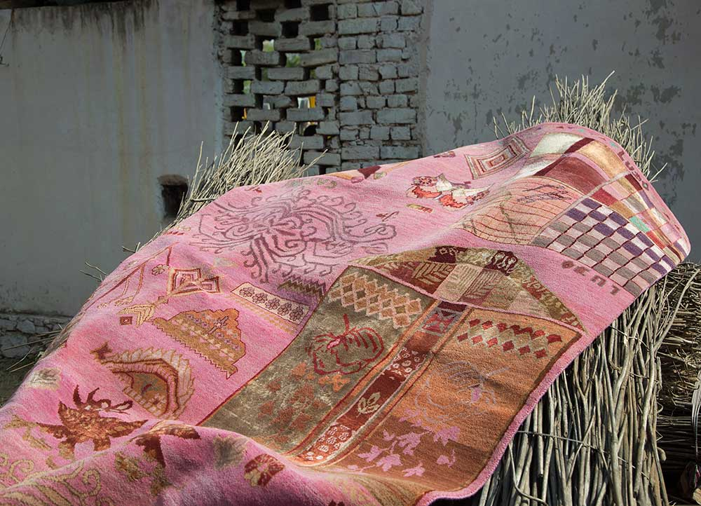 artisan originals pink and purple wool and bamboo silk hand knotted Rug - RoomScene