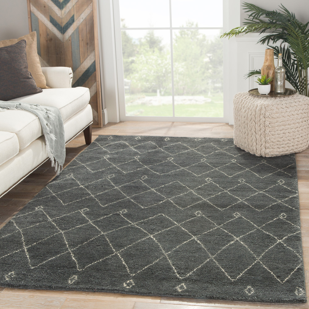 zuri blue wool hand knotted Rug - RoomScene