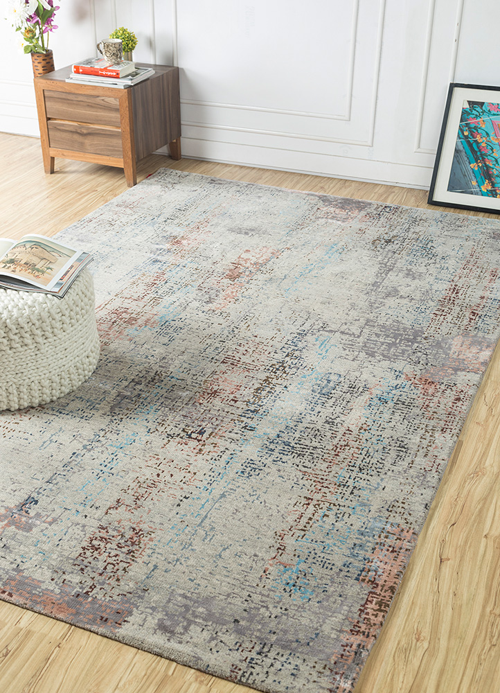 uvenuti grey and black wool and bamboo silk hand knotted Rug - RoomScene
