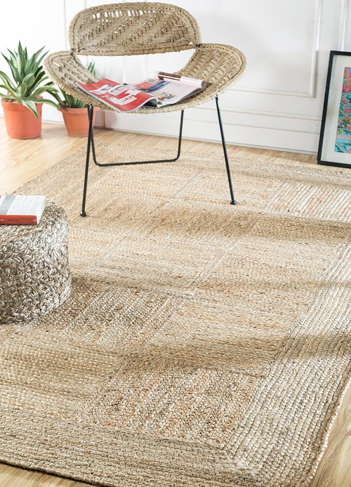 abrash beige and brown jute and hemp jute rugs Rug - RoomScene