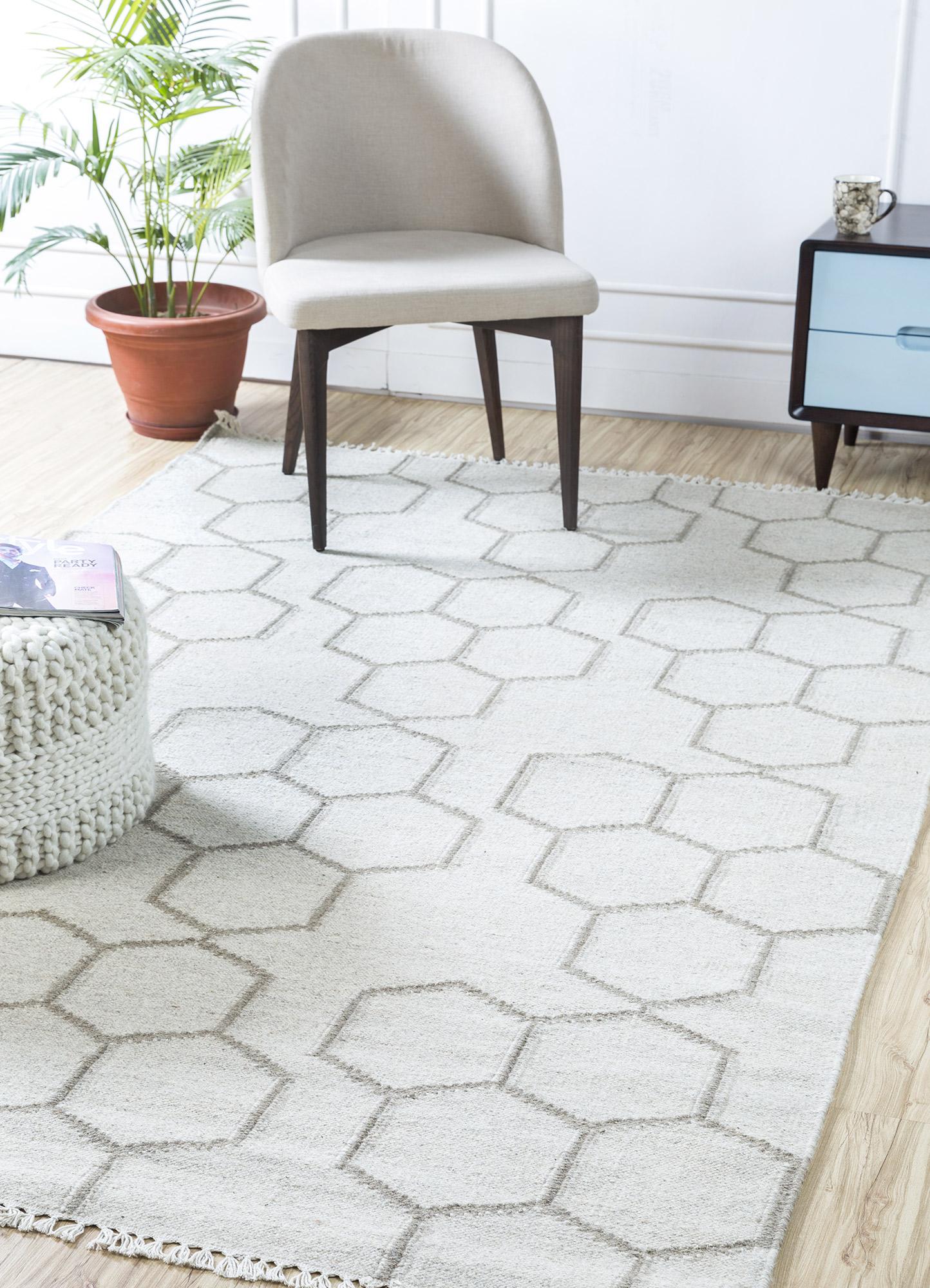 anatolia beige and brown wool flat weaves Rug - RoomScene