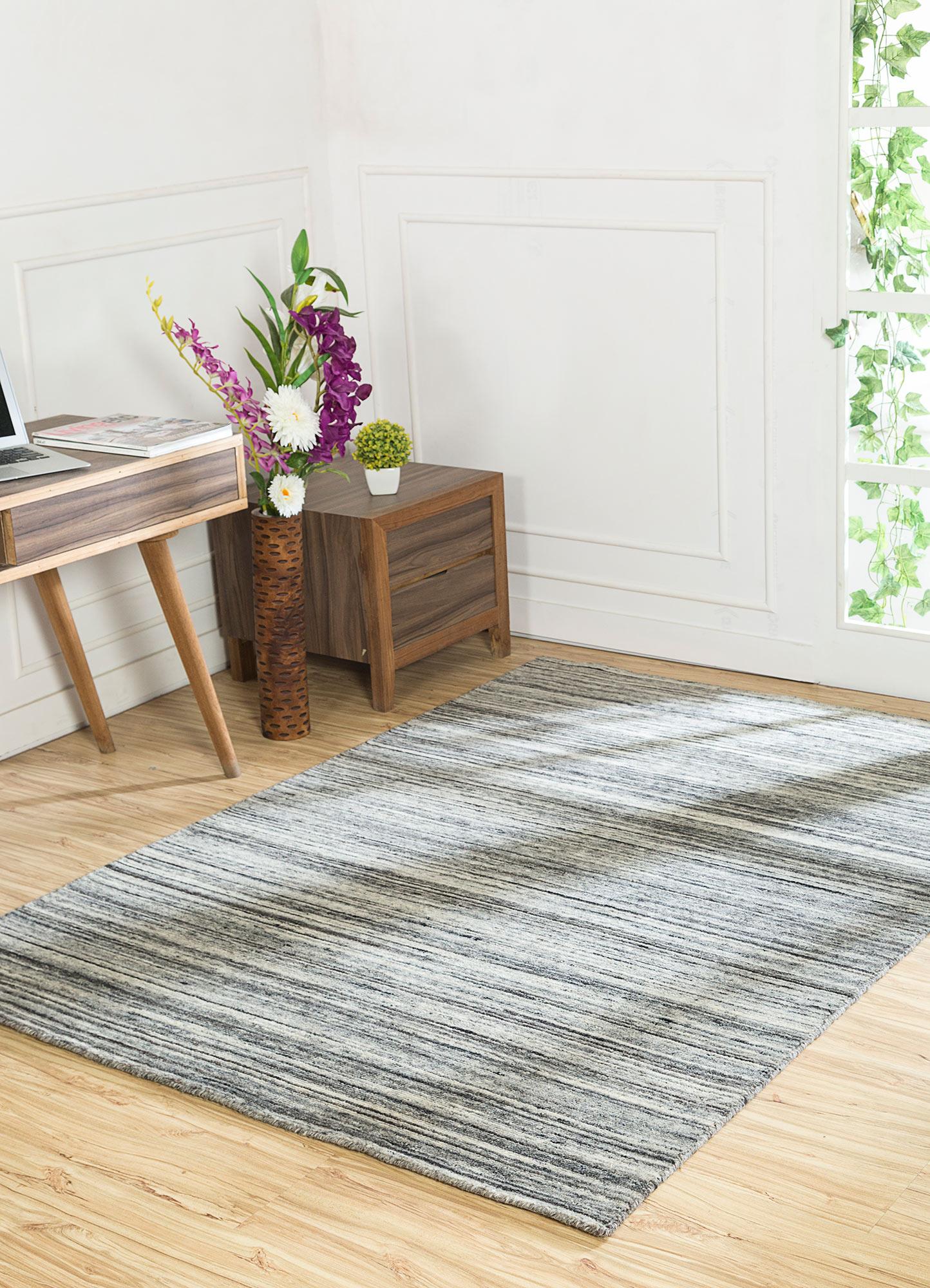 eron ivory wool hand loom Rug - RoomScene