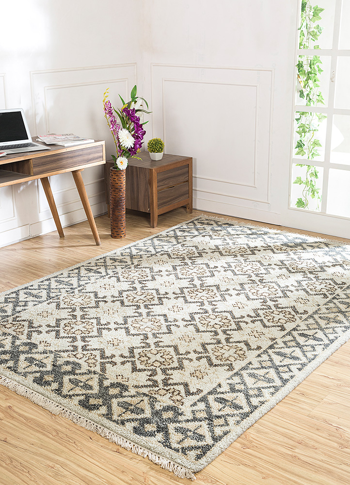 liberty blue wool hand knotted Rug - RoomScene