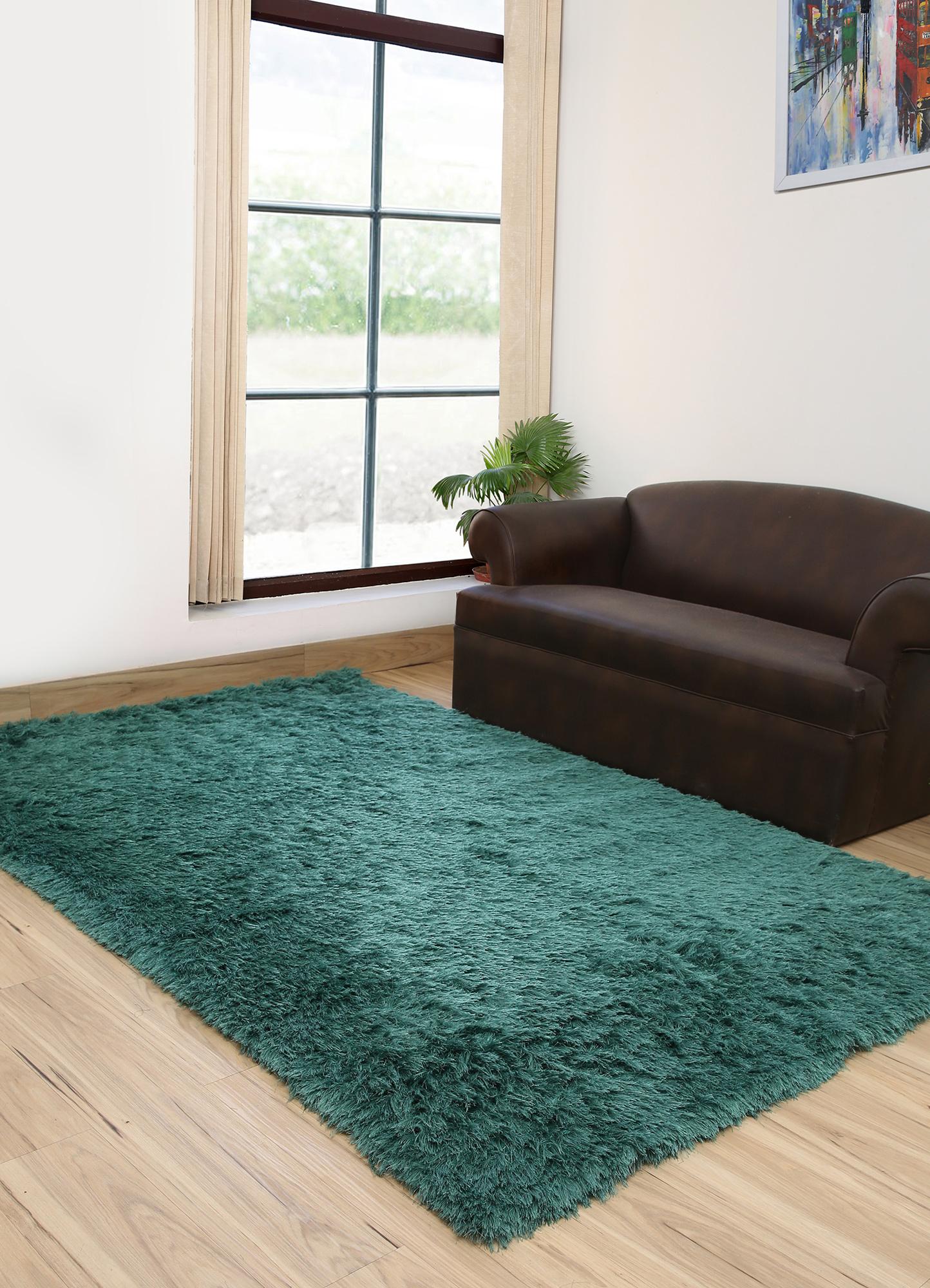 verve blue polyester shag Rug - RoomScene
