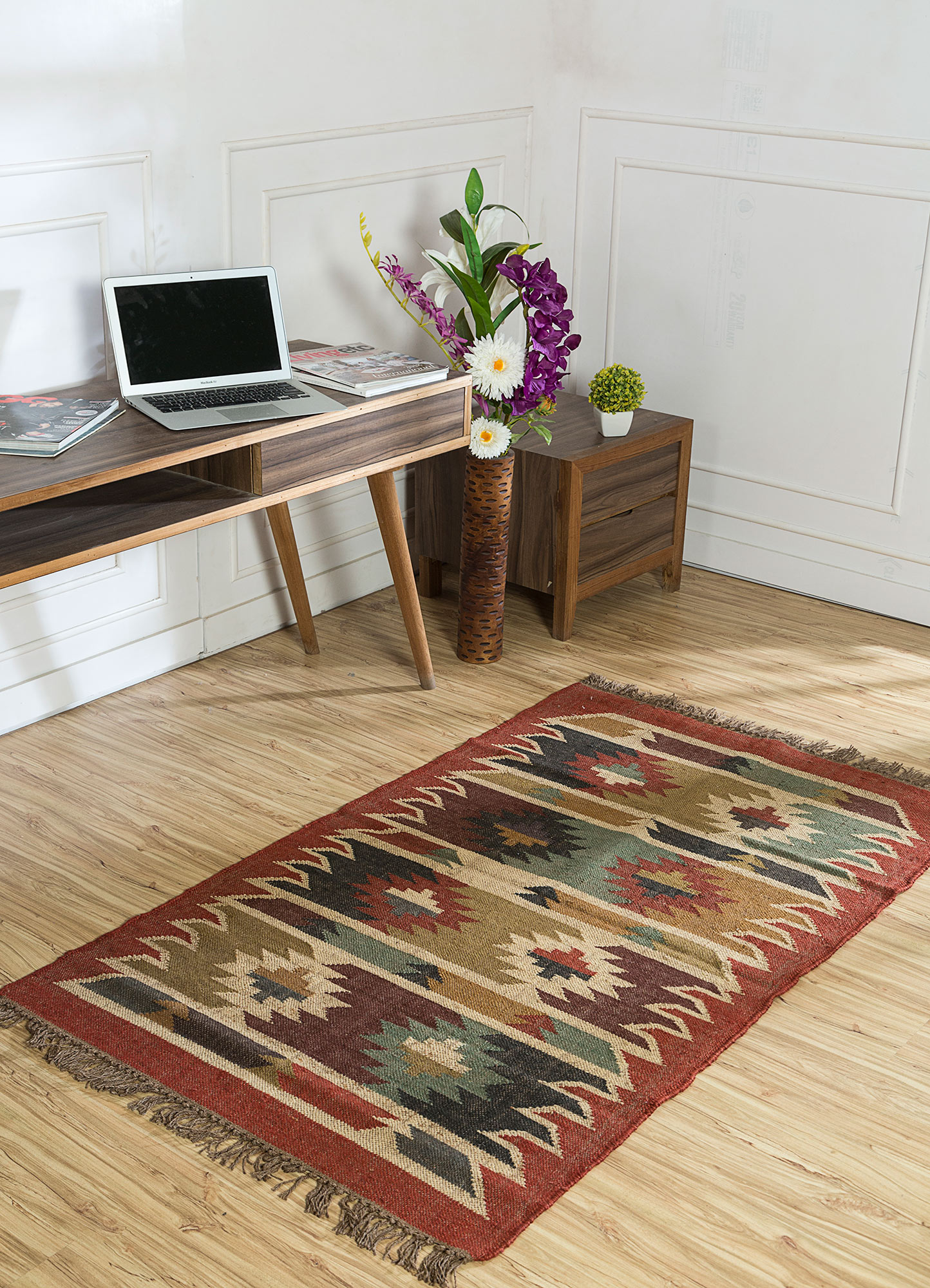 bedouin red and orange jute and hemp jute rugs Rug - RoomScene