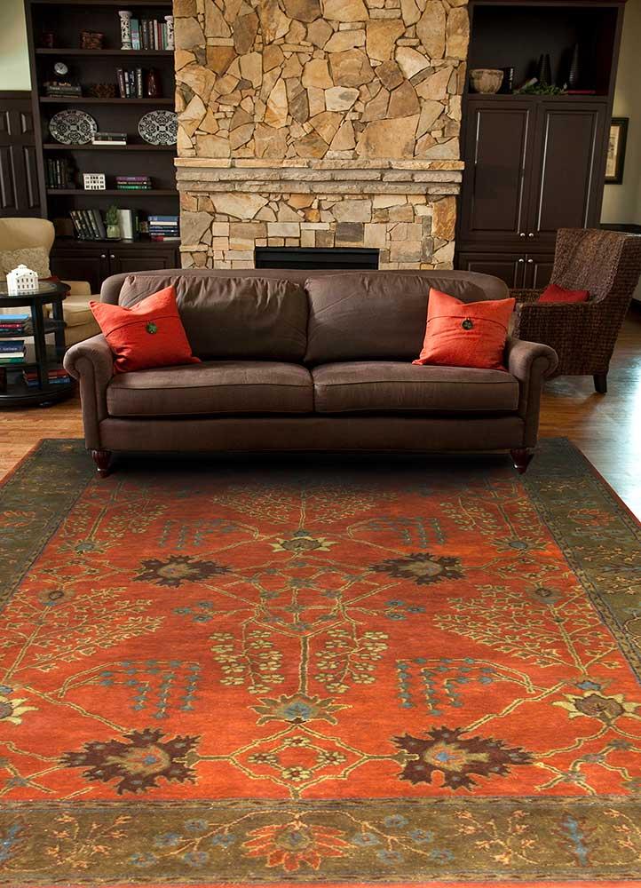 mythos red and orange wool hand tufted Rug - RoomScene
