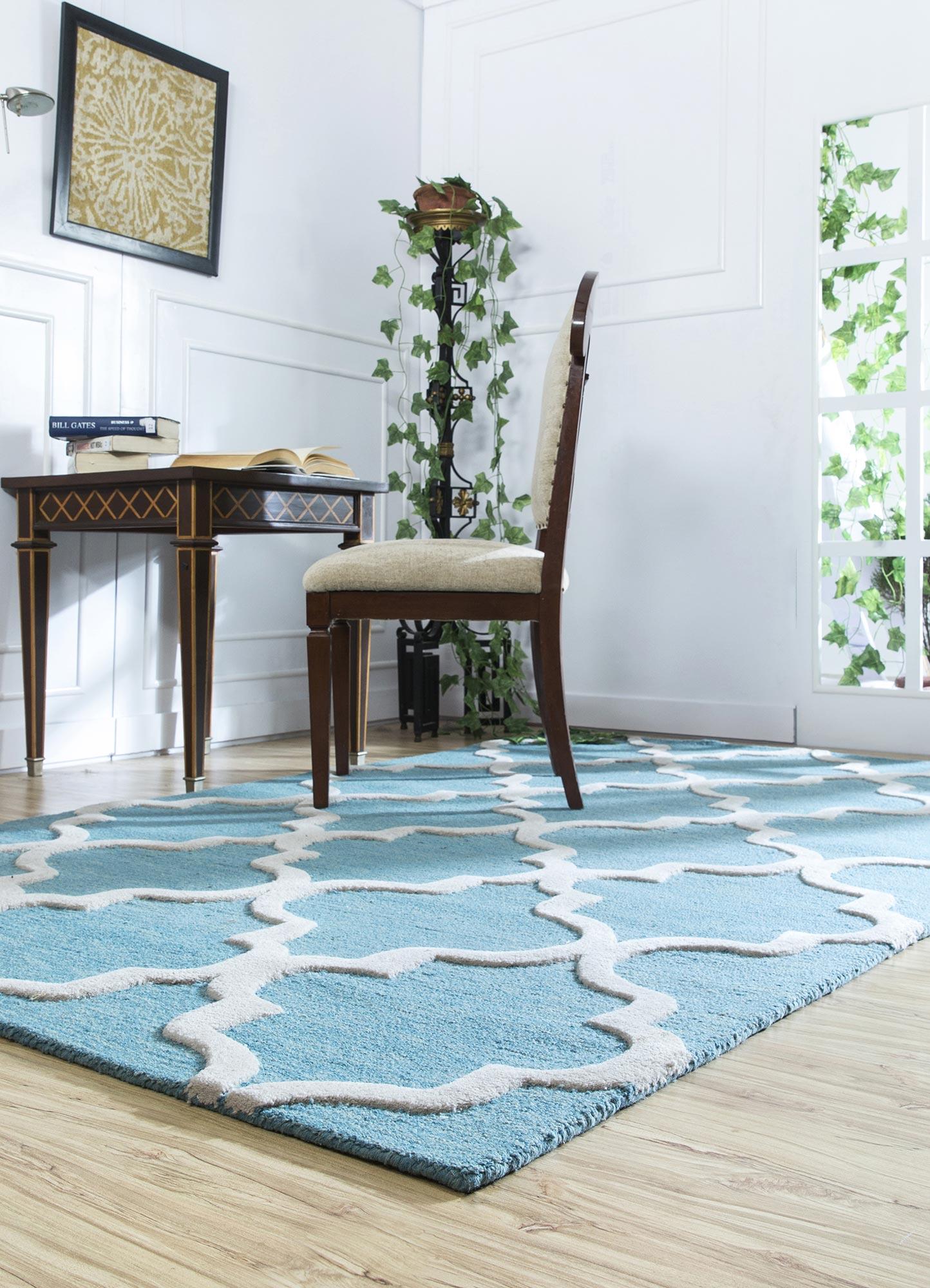 contour blue wool hand tufted Rug - RoomScene