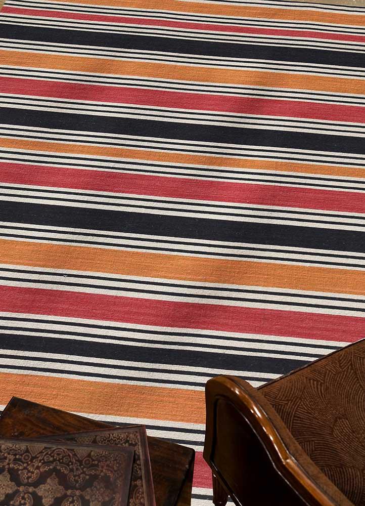 aqua red and orange wool flat weaves Rug - RoomScene